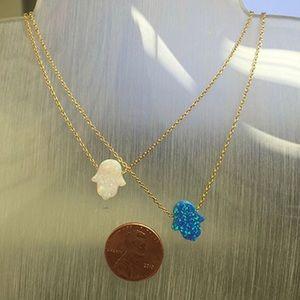 Jewelry - Opal Iridescent Hamsa Necklace,NWT